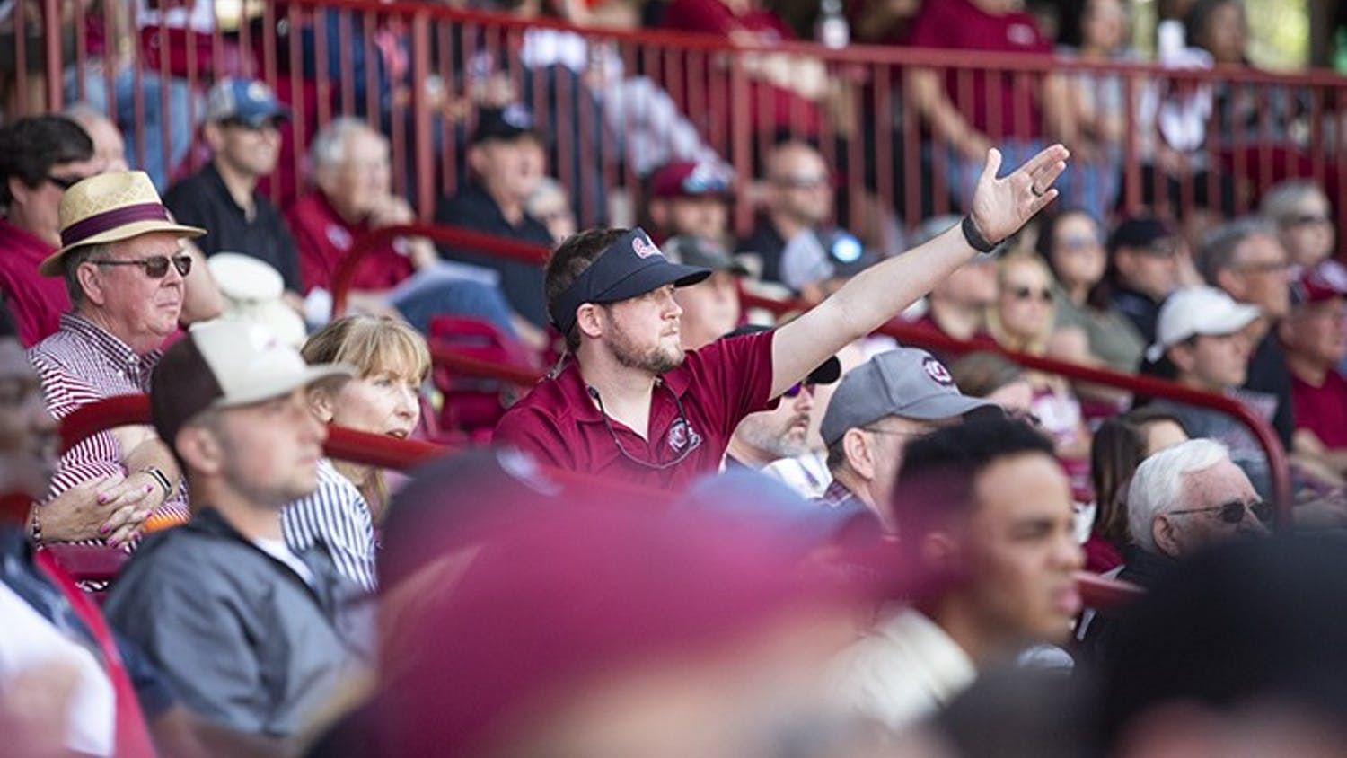 Upset with a call, a South Carolina fan throws their hands up in frustration during the second game against Auburn at Founders Park in 2019.