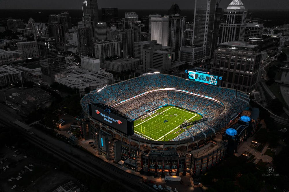 <p>The Bank of America Stadium located in Charlotte, North Carolina, is home to the Carolina Panthers.&nbsp;</p>