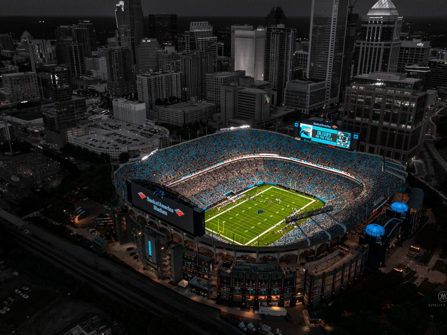 The Bank of America Stadium located in Charlotte, North Carolina, is home to the Carolina Panthers.