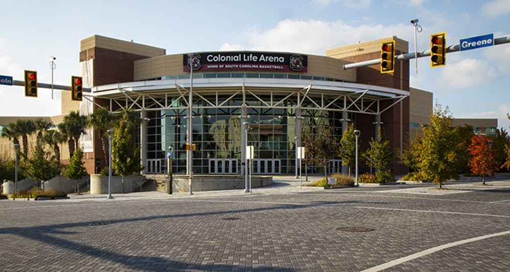 <p>&nbsp;Colonial Life Arena&nbsp;is home to the University of South Carolina men's and women's basketball teams.</p>