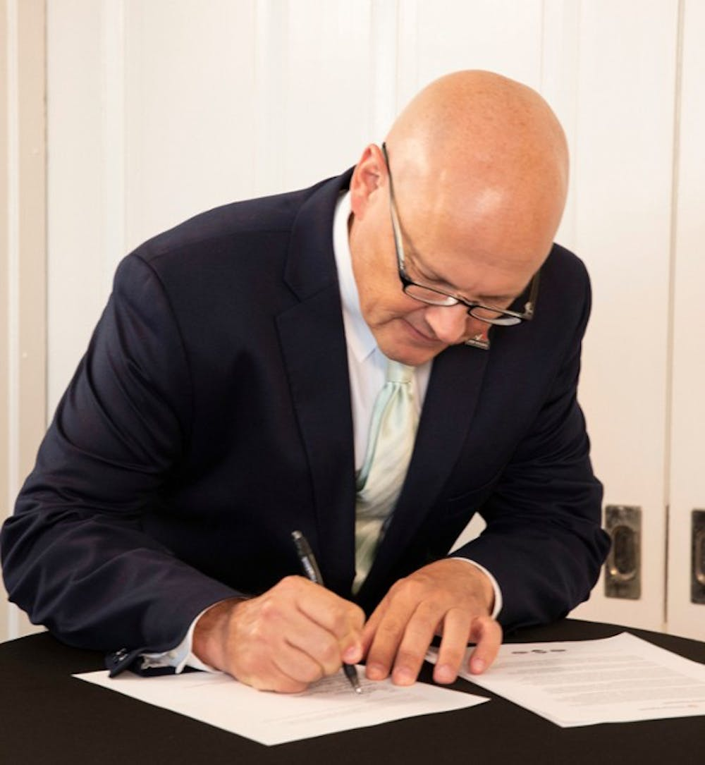 <p>President Greg Crawford has signed the Presidents&#x27; Climate Leadership Commitment (PCLC) which commits Miami to creating a more sustainable campus. </p>