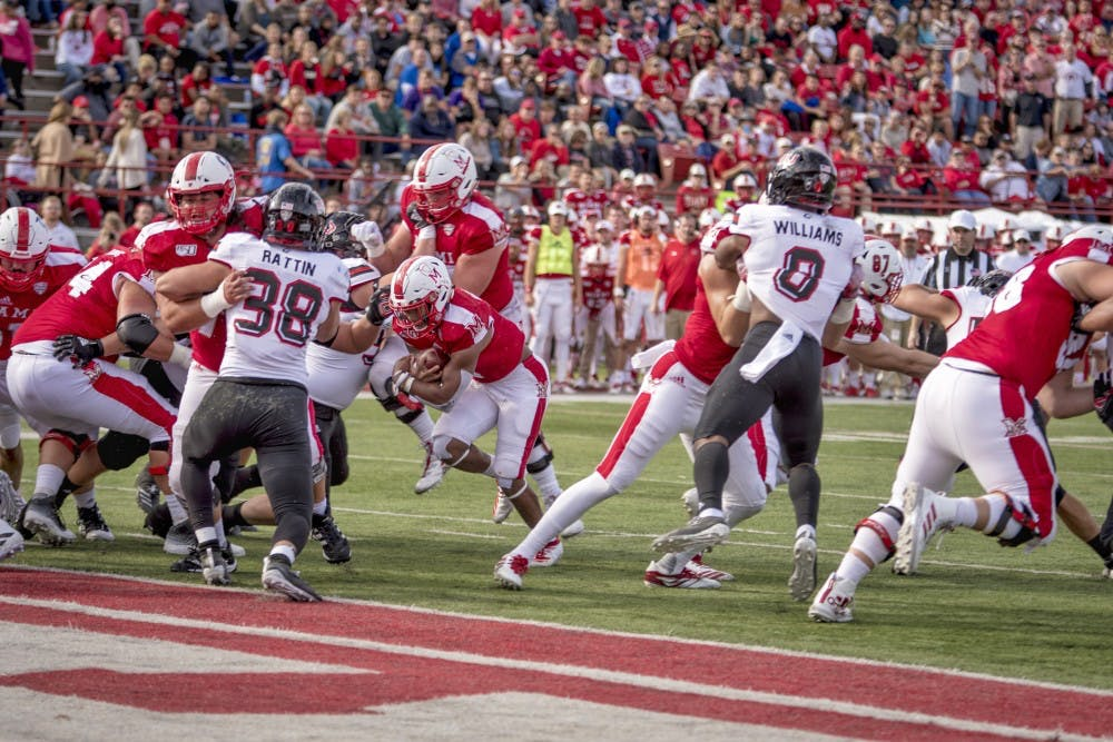 <p>Junior running back Jaylon Bester carries the ball for Miami in a 27-24 RedHawks victory at Yager Stadium on Oct. 19. The Miami Student&#x27;s Michael Vestey ranks Miami second in the MAC East and Northern Illinois last in the MAC West through this season&#x27;s first seven games.</p>