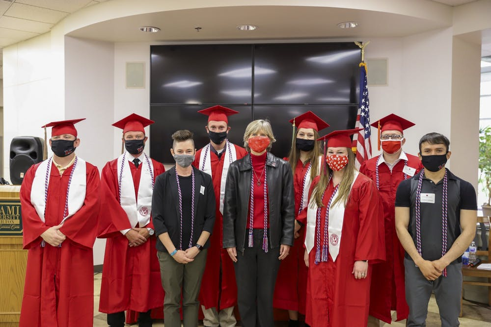 <p>Military-affiliated students happily received their cords for graduation, effectively capping their Miami experience.</p><p><br/><br/></p>