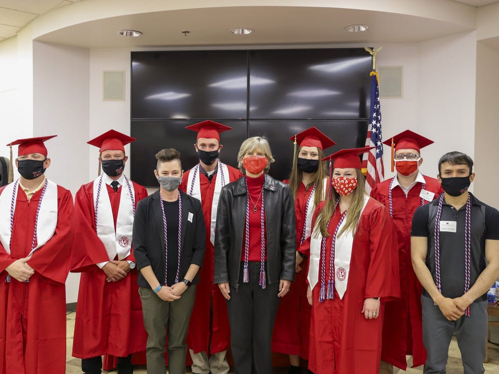 Military-affiliated students happily received their cords for graduation, effectively capping their Miami experience.