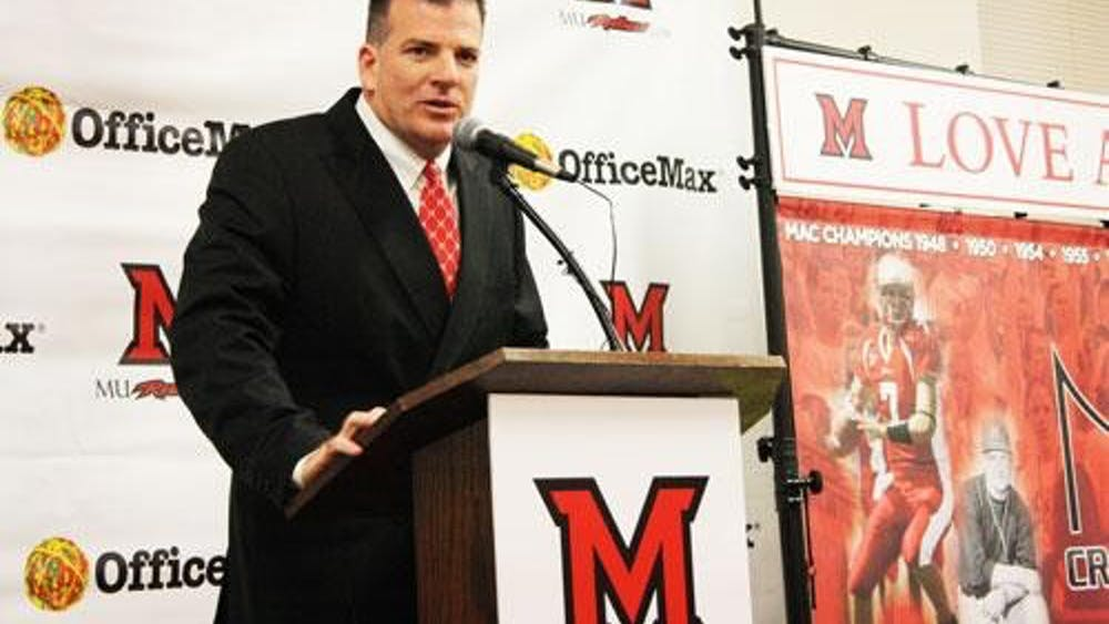 Miami head football coach Chuck Martin speaks during his introductory press conference on Dec. 4, 2013.