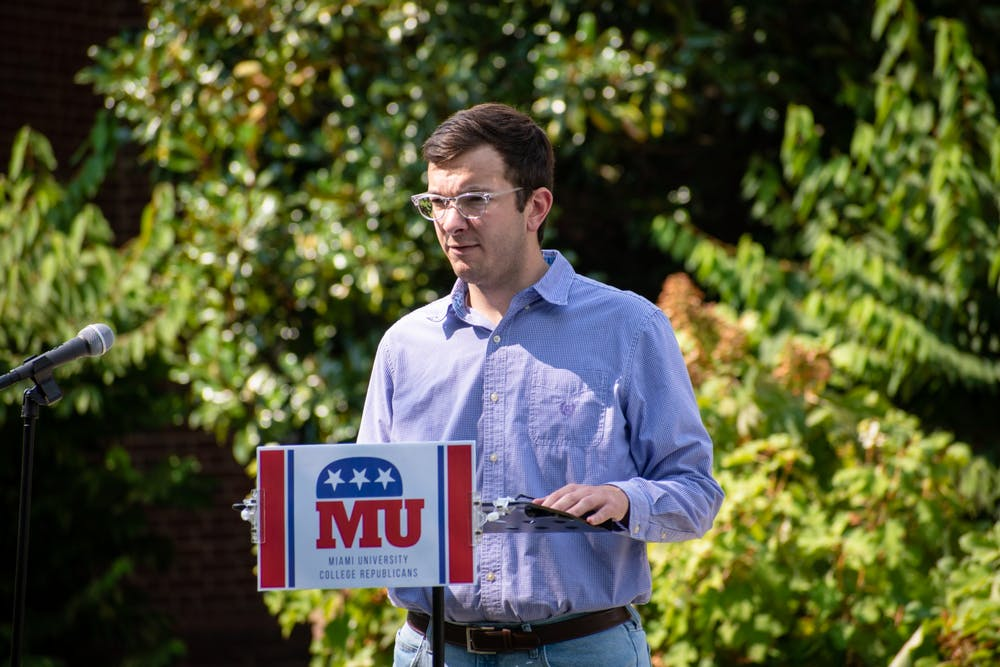 <p>Collin Finn, Miami University College Republicans chairman, speaks at a his organization&#x27;s press conference in opposition to Miami&#x27;s new mask mandate. </p>