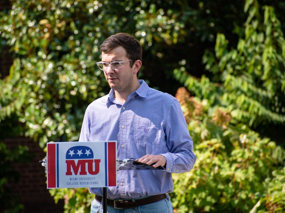 Collin Finn, Miami University College Republicans chairman, speaks at a his organization's press conference in opposition to Miami's new mask mandate.