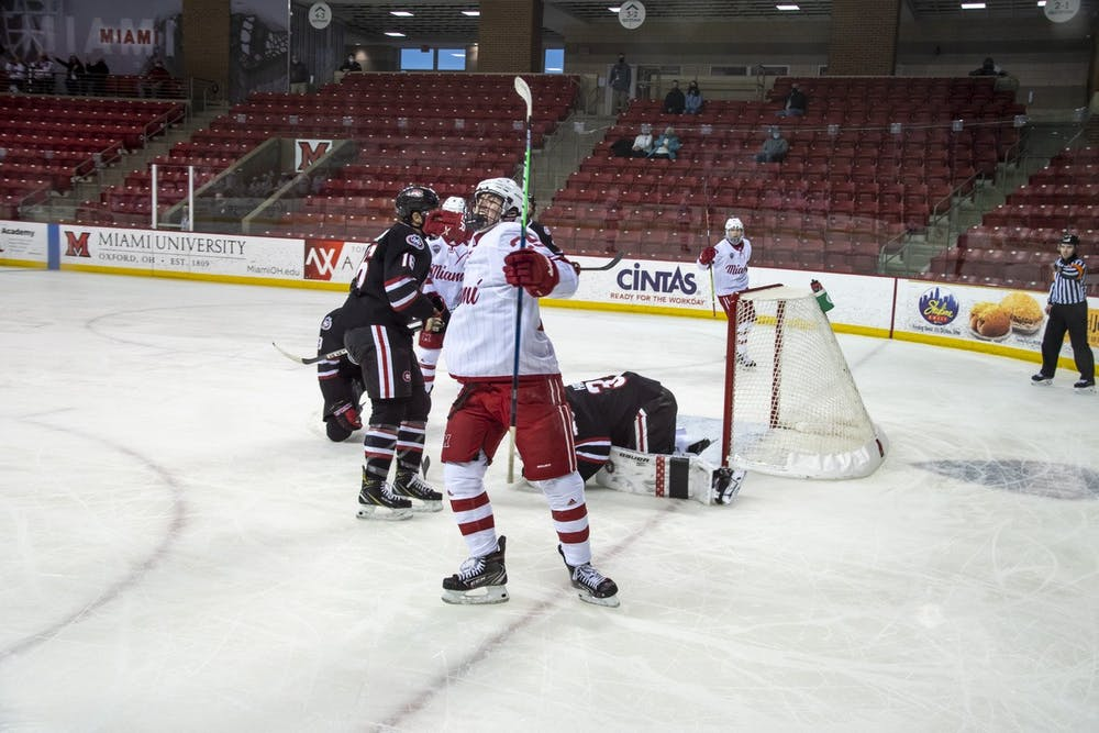 <p>Freshman forward Matthew Barbolini celebrates a goal during a weekend series vs St. Cloud State.</p>