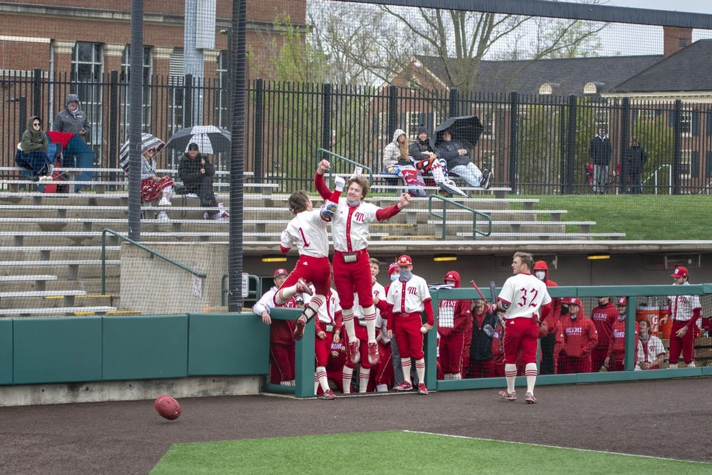 <p>Senior infielder Tyler Wardell (pictured, no. 1) jumps for joy with a teammate during last weekend&#x27;s series vs. Western Michigan</p>