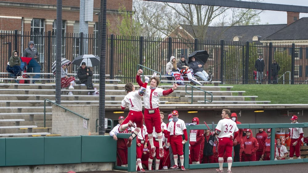 Senior infielder Tyler Wardell (pictured, no. 1) jumps for joy with a teammate during last weekend's series vs. Western Michigan