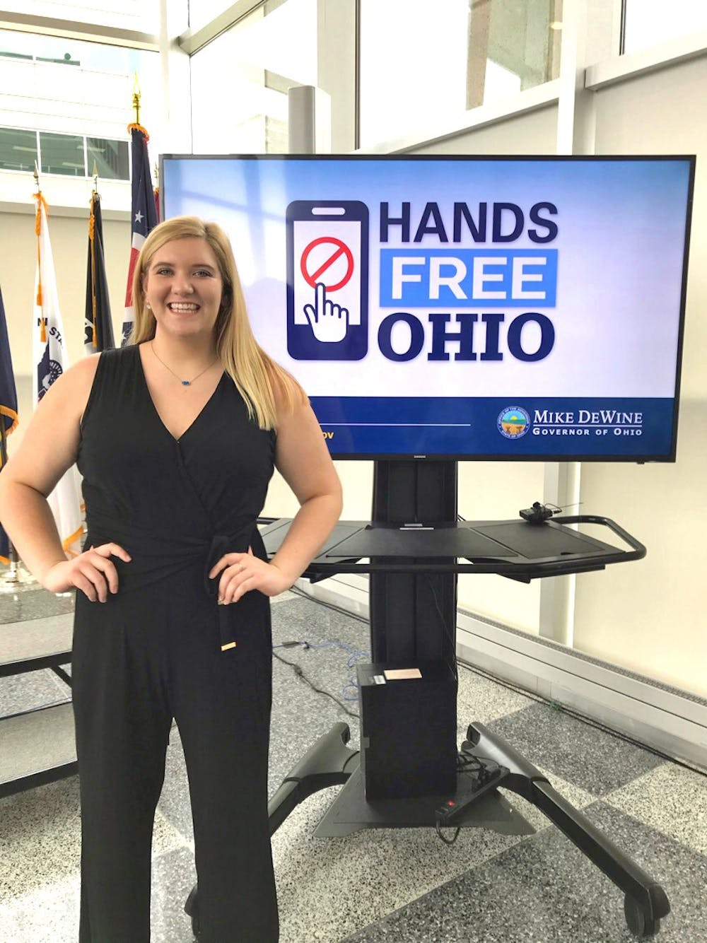 <p>Sarah Strack met with Governor Mike Dewine to advocate for anti-distracted driving legislation.</p>