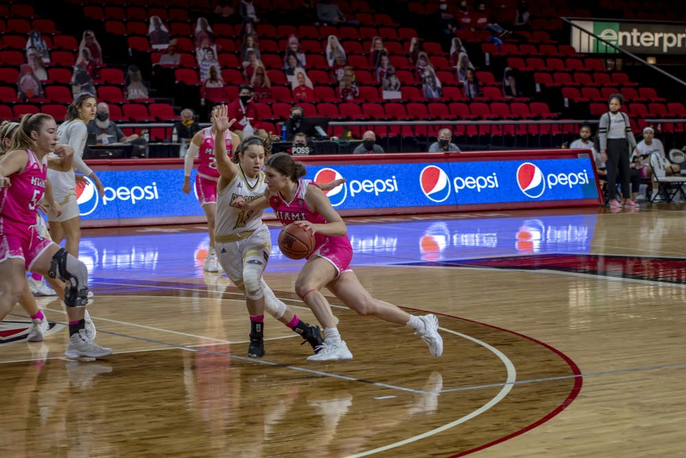 <p>Senior forward Kelly McLaughlin (pictured, left) and freshman guard Katie Davidson (pictured, with ball) had 25 and 21 points, respectively, in last Wednesday&#x27;s win over Toledo.</p>
