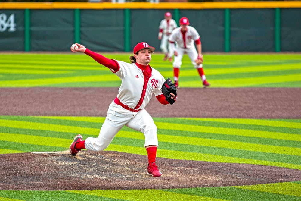 <p>Jack Corbell delivers a pitch during his senior season in 2019. He graduated last May, leaving a hole in the starting rotation the RedHawks are trying to fill.</p>