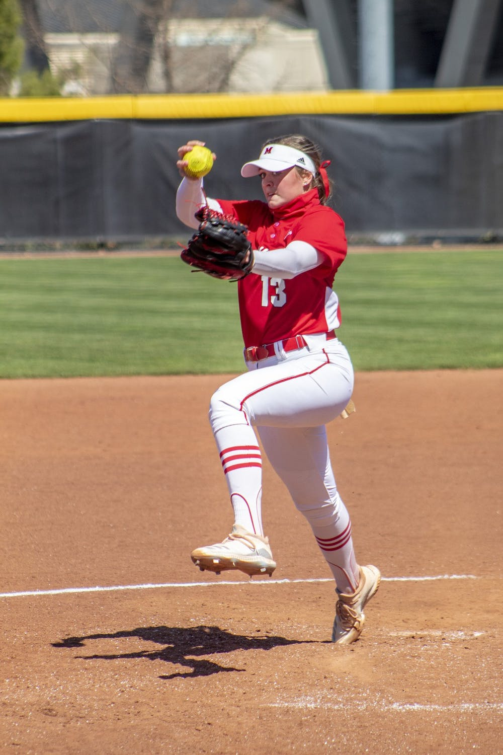 <p>Senior pitcher Courtney Vierstra now has three starts in which no hits were given up this season</p>