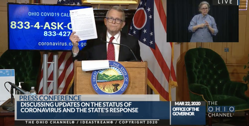 <p>Governor Mike DeWine enacted a state-wide stay-at-home order at Sunday&#x27;s press conference. The order goes into effect at 11:59 p.m. on Monday. </p>