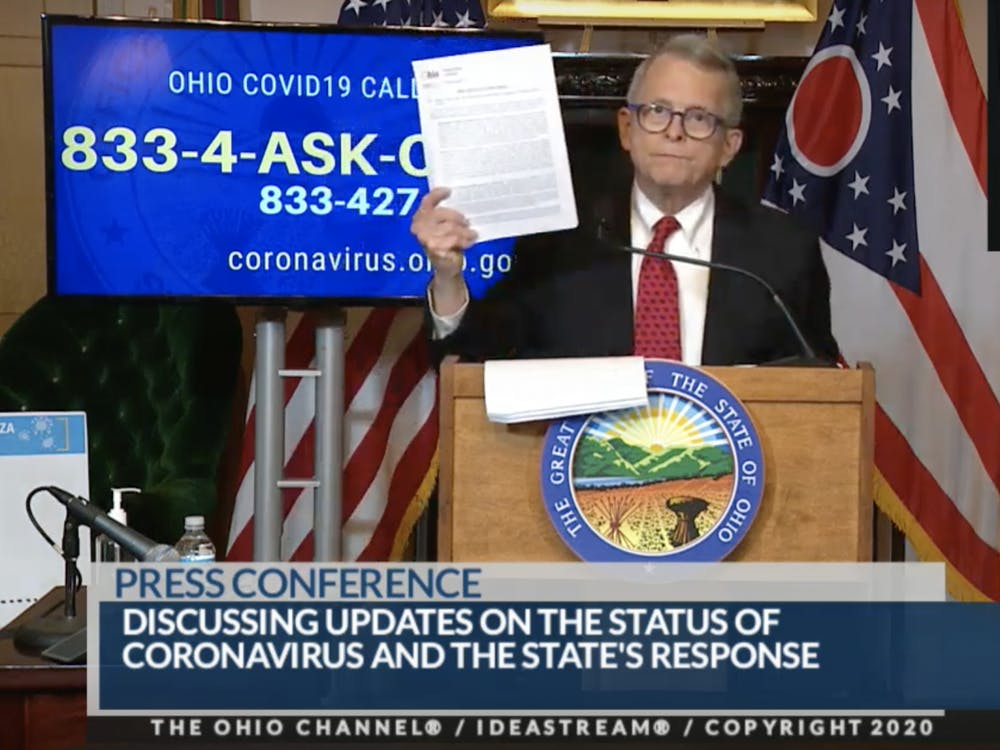 Governor Mike DeWine enacted a state-wide stay-at-home order at Sunday's press conference. The order goes into effect at 11:59 p.m. on Monday.