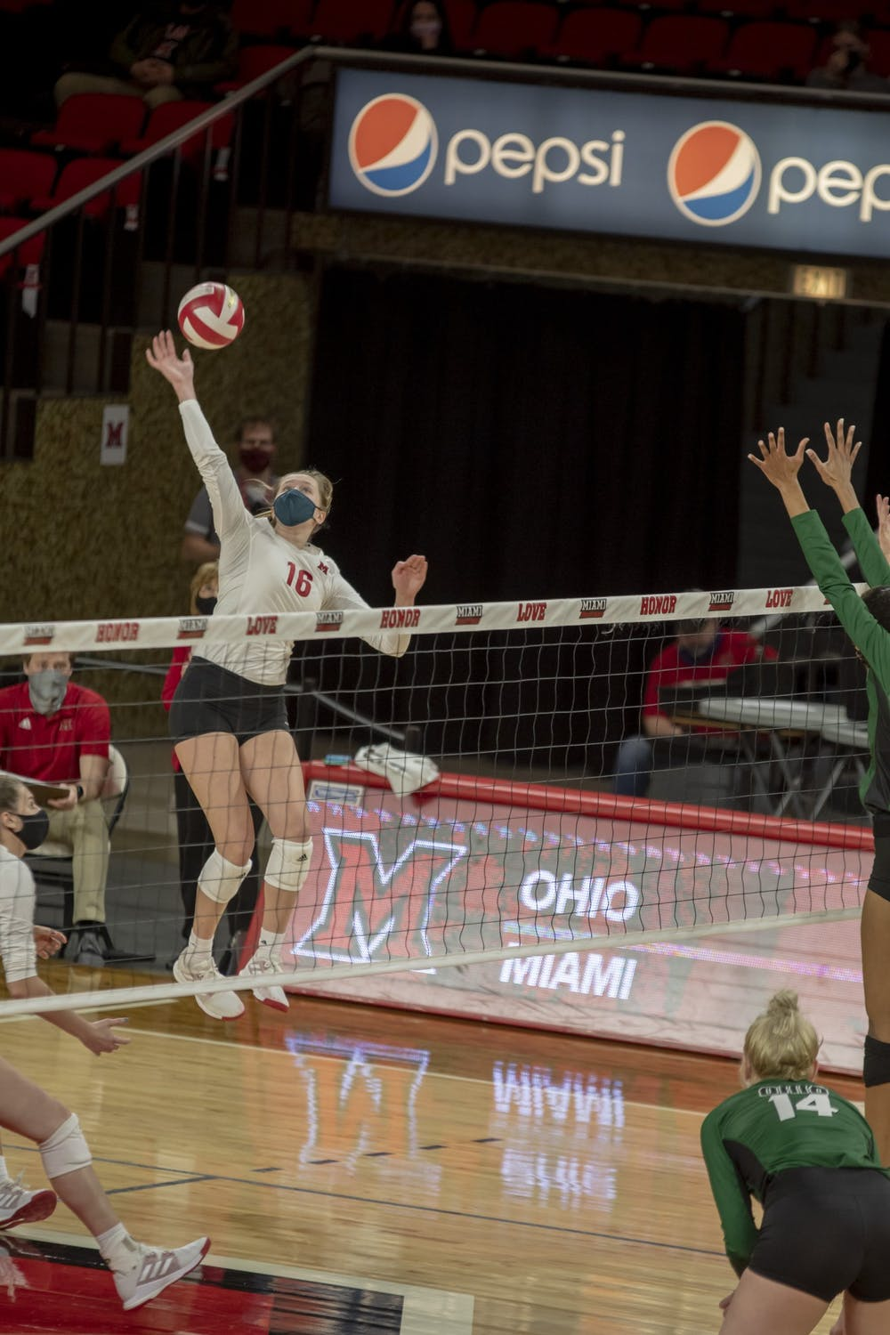 Senior right side Sophie Riemersma goes up for a spike in last year's contest vs. Ohio University.