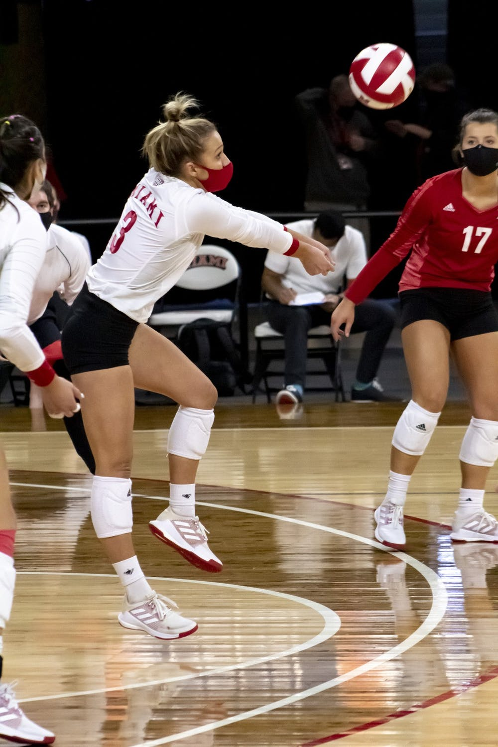 <p>Senior libero Abigail Huser (pictured, in red) recorded a career-high 38 digs in Friday&#x27;s win over Eastern Michigan.</p>