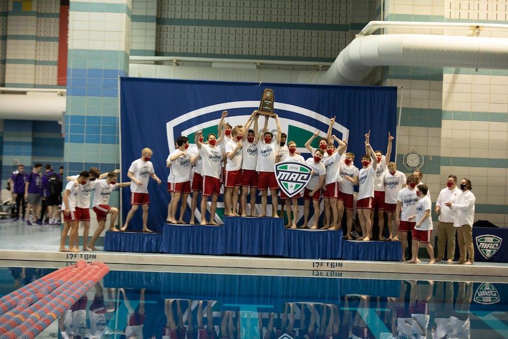 <p>2021 MAC Mens Swimming Championships - photo by Anna Kramig</p>