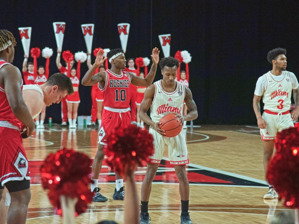 Sophomore guard Mekhi Lairy readies for a free throw during a 65-60 win over Northern Illinois Feb. 15 at Millett Hall.
