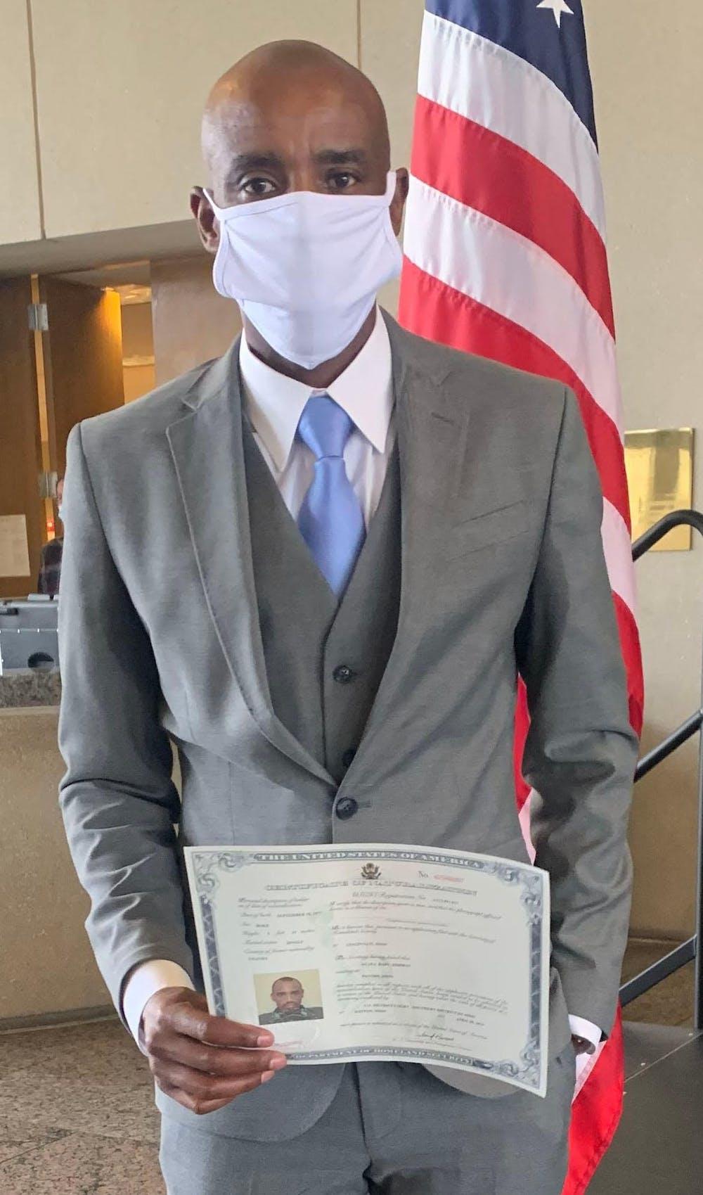 <p>Miami journalism major Godwin Agaba became an American citizen after fleeing Rwanda years ago.</p>
