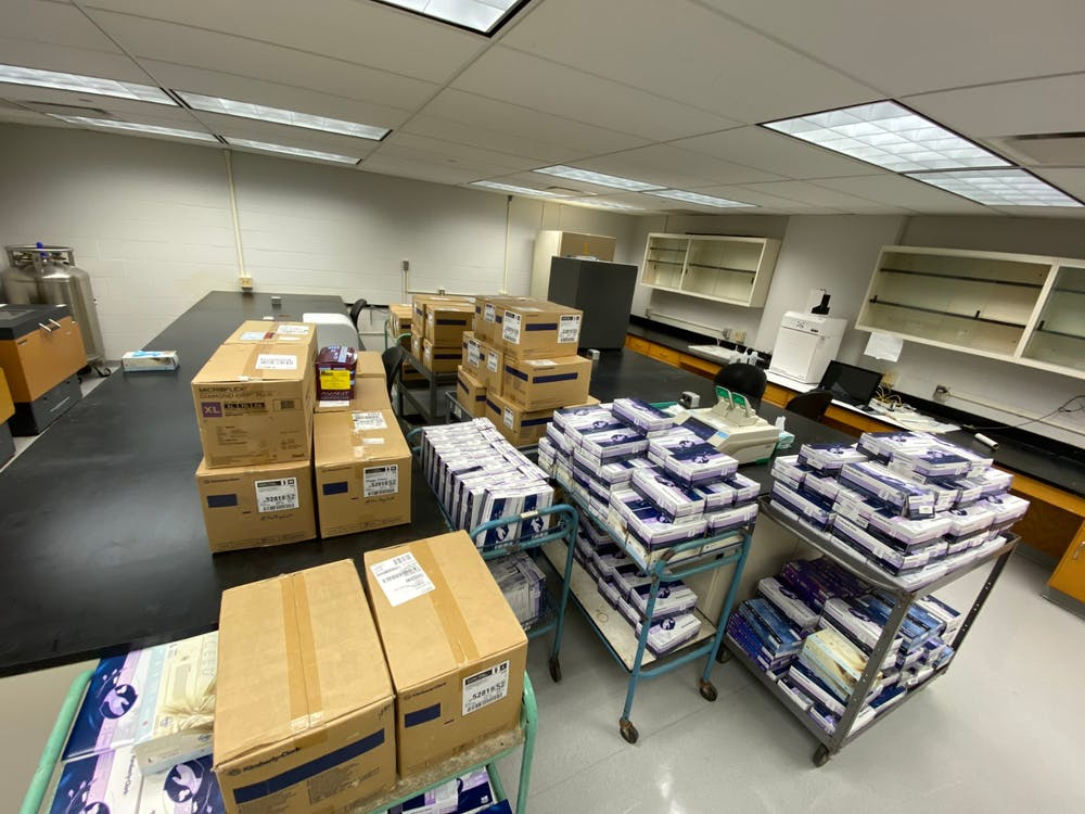 <p>The Miami University Chemistry Department is donating gloves and masks to surrounding medical facilities to help with the increased need for medical supplies during the novel coronavirus pandemic. </p>