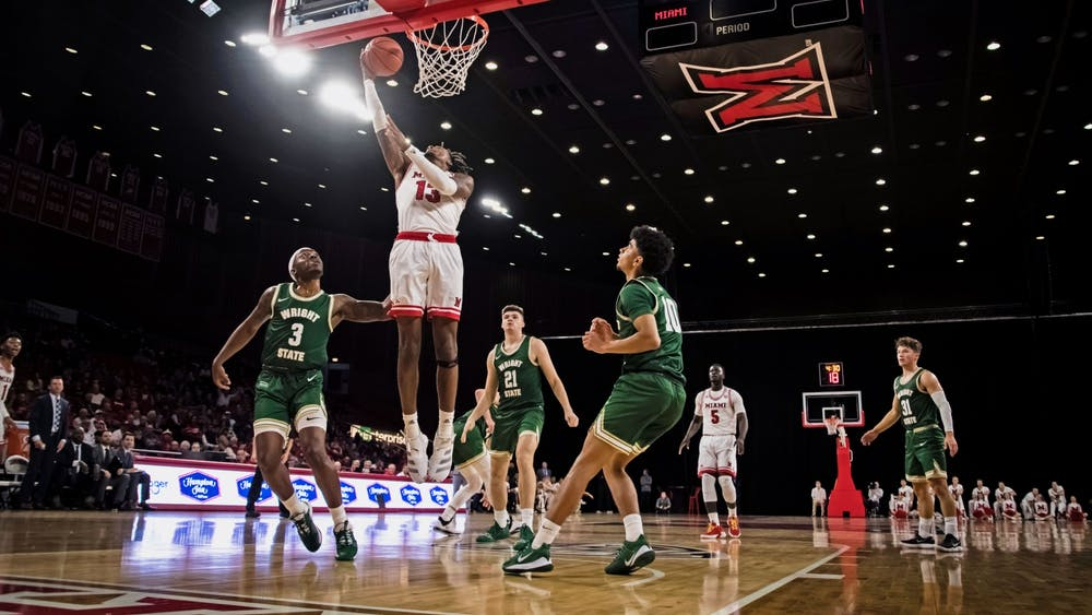 Dalonte Brown attempts a layup against Wright State on Nov. 11 at Millett Hall. Brown scored 14 points in Miami's 88-81 loss.