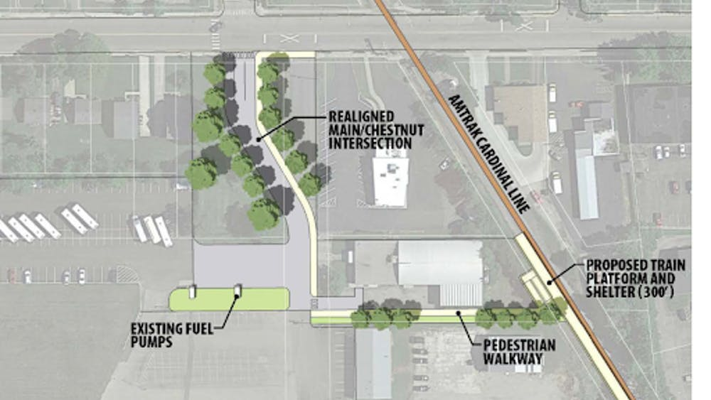 A mock-up of what the potential Amtrak station could look like.