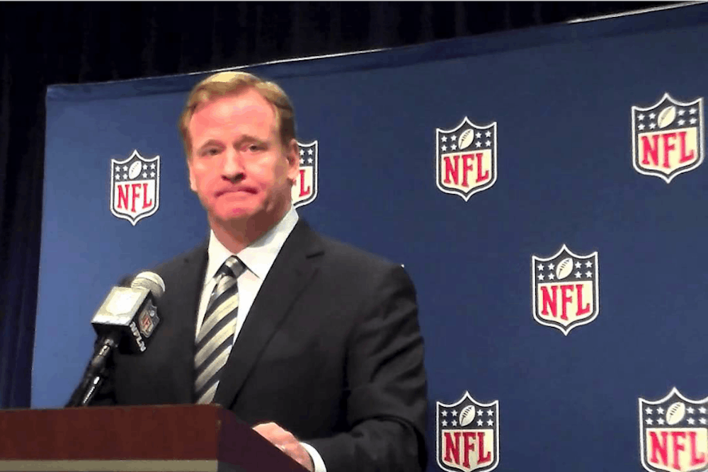 <p>NFL commissioner Roger Goodell announces the first-round picks at each NFL draft.</p>
