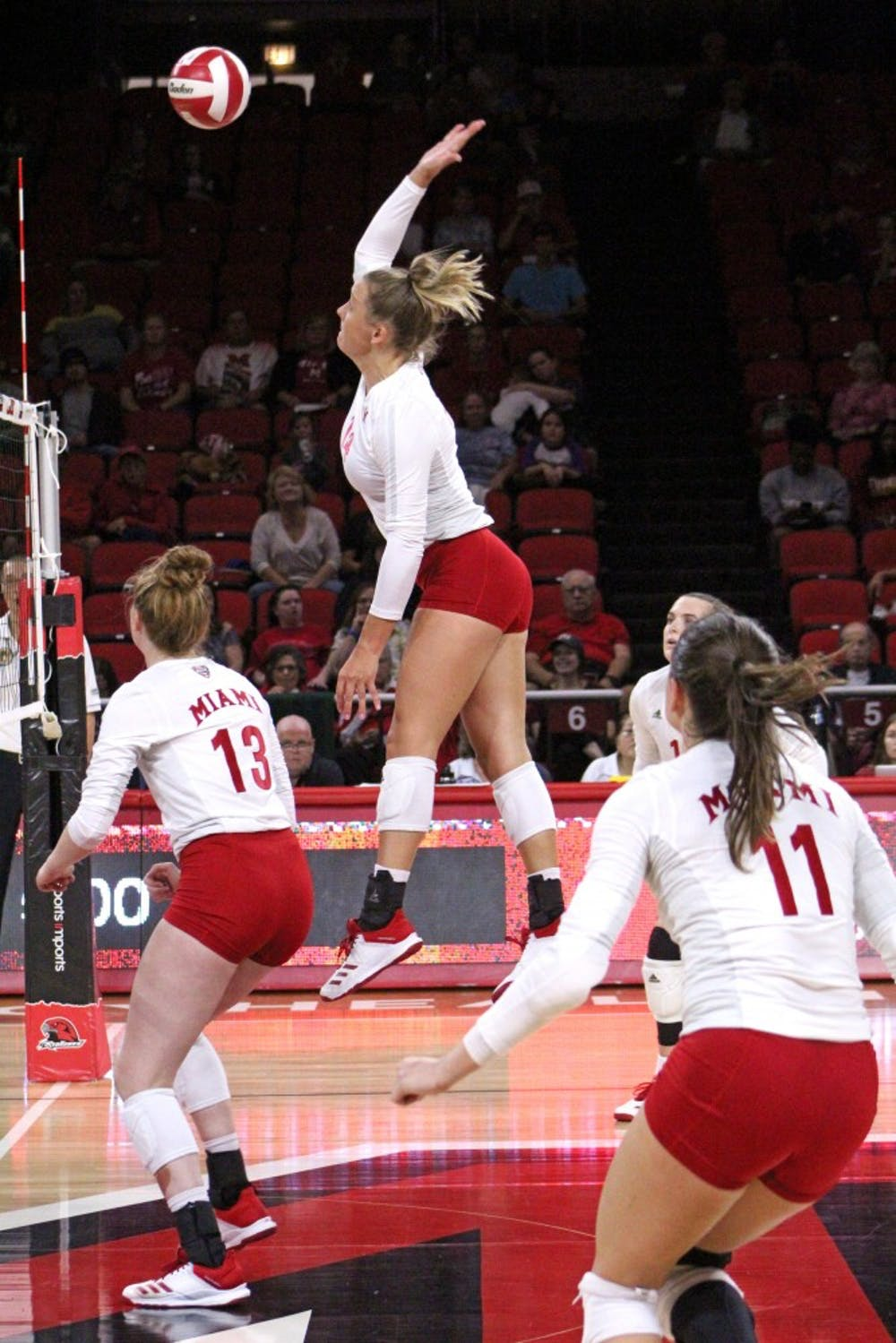 <p>Junior right side Sarah Wojick hits a ball last weekend. In two games, she put down 11 kills and added six digs.</p><p><br/><br/><br/><br/><br/><br/></p>