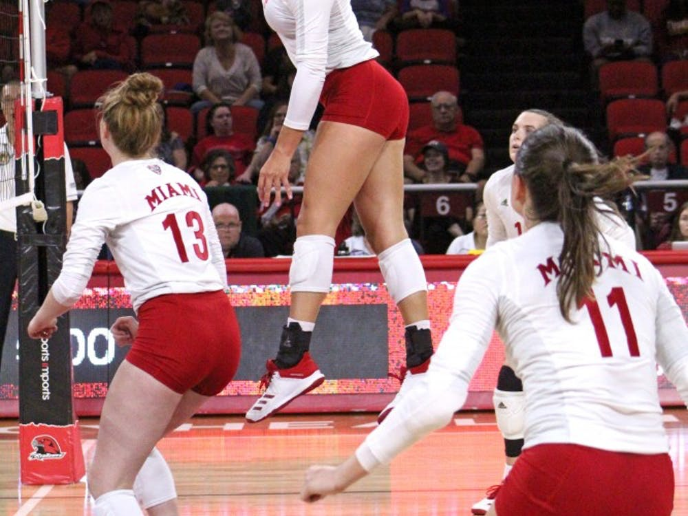 Junior right side Sarah Wojick hits a ball last weekend. In two games, she put down 11 kills and added six digs.