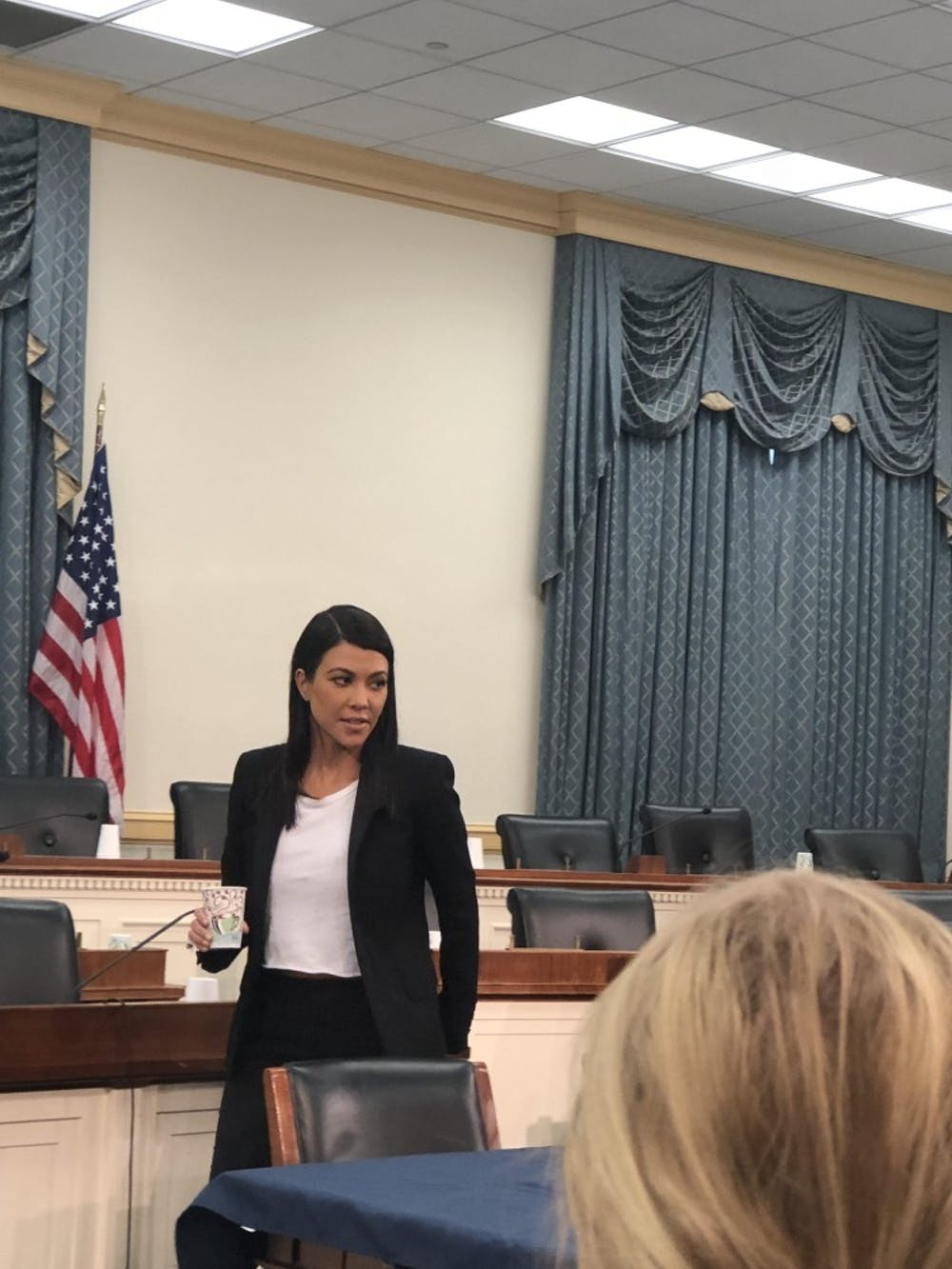 Kourtney Kardashian attends a briefing on Capitol Hall.