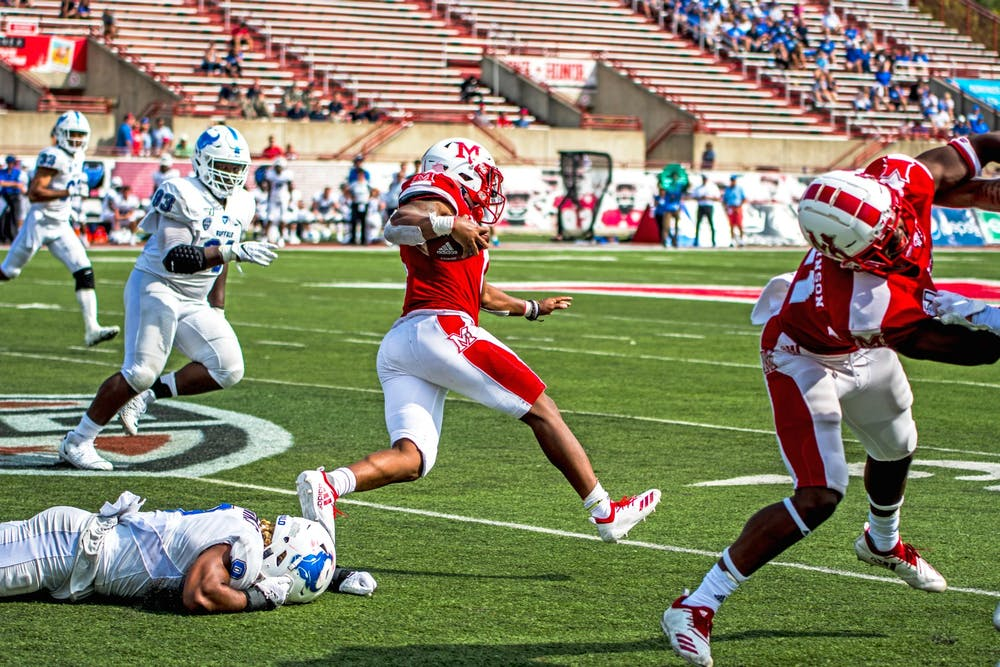 <p>Junior running back Jaylon Bester carries the ball against the Buffalo Bulls on Sept. 28, 2019. Monday, against Louisiana in the LendingTree Bowl, Bester ran for 52 yards and two touchdowns on 19 touches.</p>