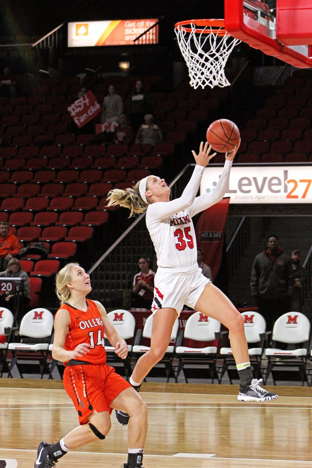 <p>Redshirt junior guard Abbey Hoff attempts a layup against Findlay in Miami&#x27;s preseason exhibition game on Oct. 31 at Millett Hall. Last season, Hoff played in 29 games, averaging 1.7 points per contest.</p>