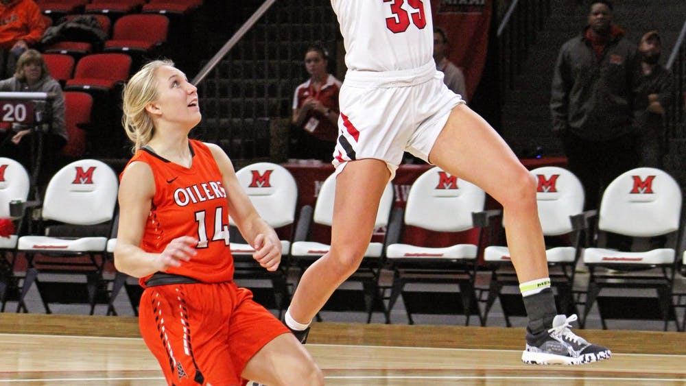 Redshirt junior guard Abbey Hoff attempts a layup against Findlay in Miami's preseason exhibition game on Oct. 31 at Millett Hall. Last season, Hoff played in 29 games, averaging 1.7 points per contest.