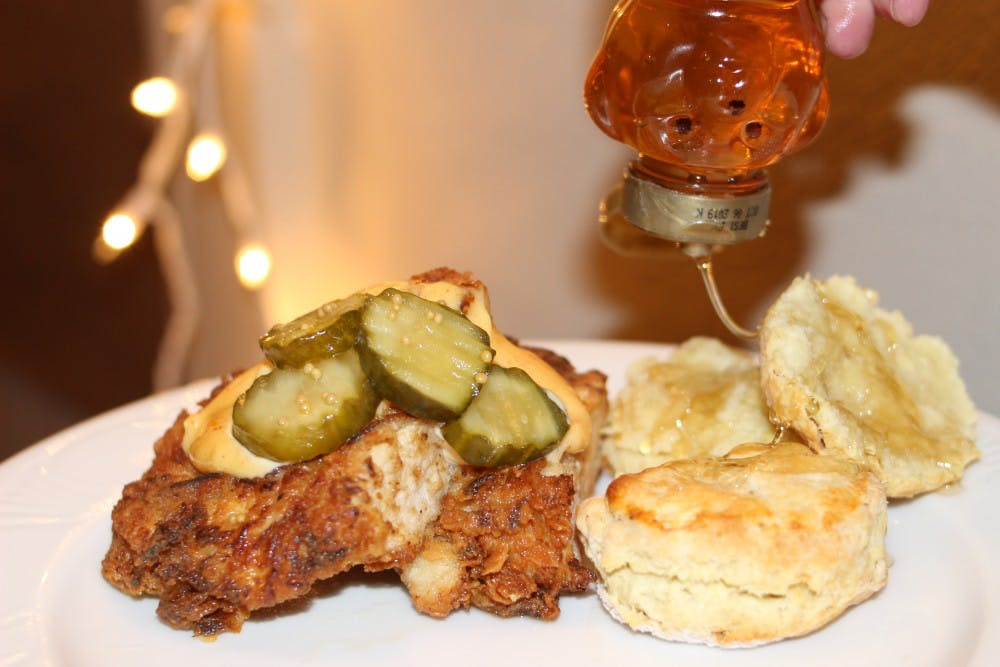 Serve your chicken with a couple warm biscuits on the side, drizzled with more honey and topped with bread & butter pickles.