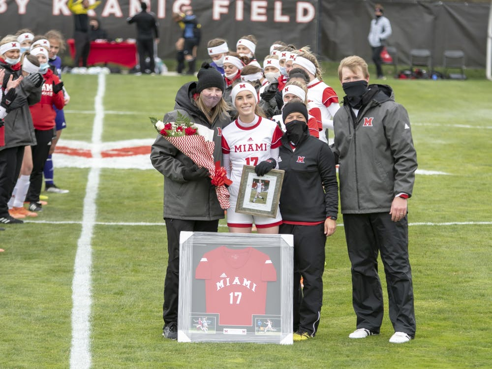 Midfielder Soph Spinell is honored on senior day before Miami's 2-1 win over Ohio University.