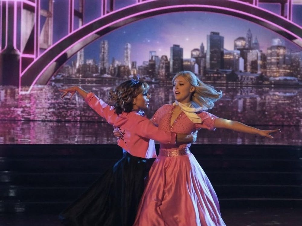 """""""Dance Moms"""" star JoJo Siwa and her partner Jenna Johnson Chmerkovskiy got their first perfect score for the season for their emotional foxtrot to """"Look At Me, I'm Sandra Dee."""""""