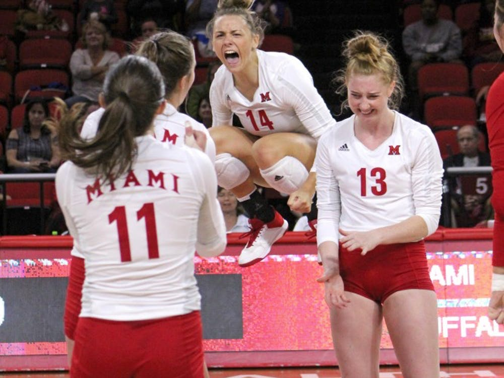Senior right side Sarah Wojick (pictured, middle) led the team with 25 total kills in Miami's series vs. Bowling Green.