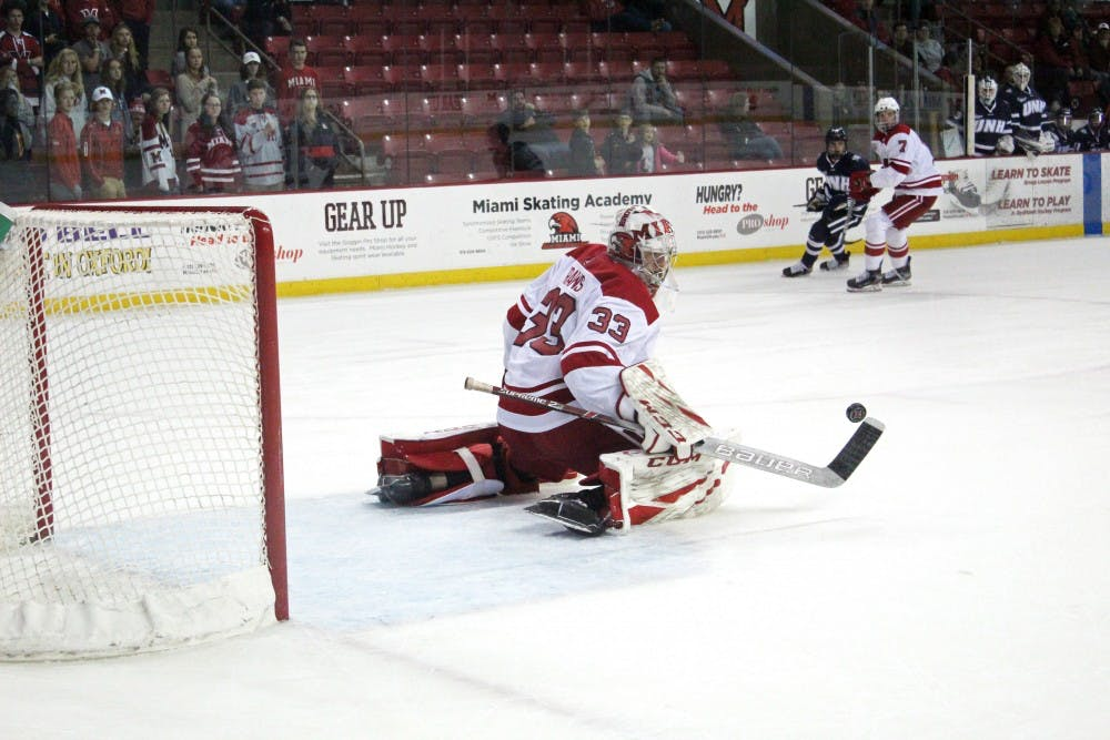 <p>Freshman goaltender Ben Kraws makes a save against New Hampshire in his first career start Saturday. Kraws allowed four goals but made 21 saves.</p>
