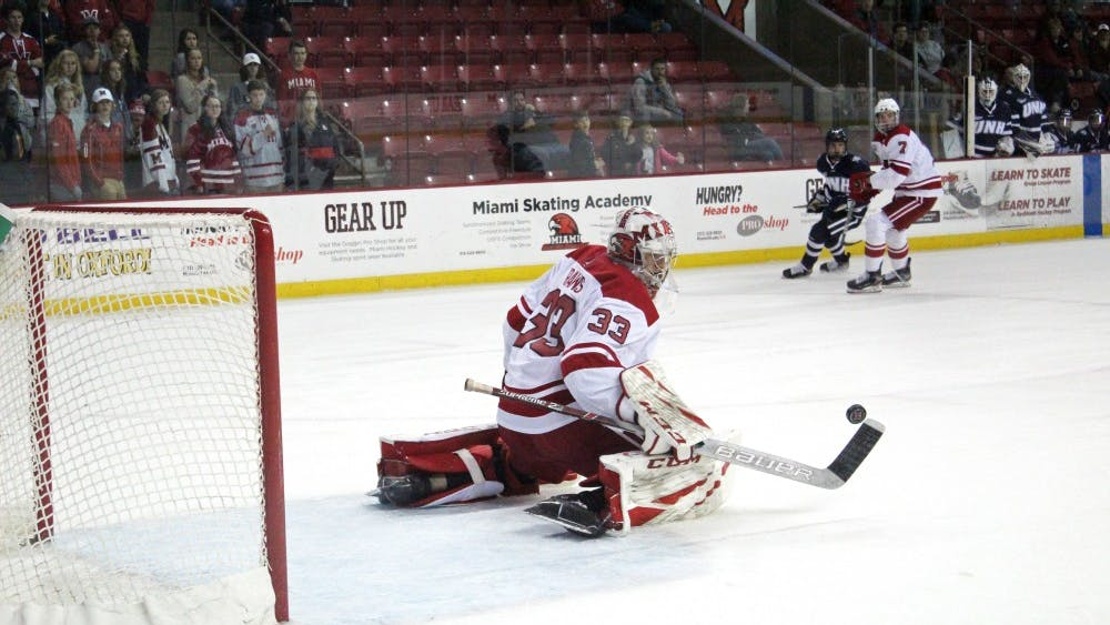 Freshman goaltender Ben Kraws makes a save against New Hampshire in his first career start Saturday. Kraws allowed four goals but made 21 saves.