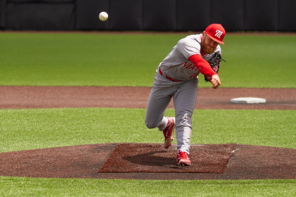 <p>After being selected in the first round of the 2021 MLB Draft by the Los Angeles Angels, pitcher Sam Bachman will likely start his career at the A-ball or AA level for the Angels organization. <em>Courtesy of Miami Athletics</em></p>