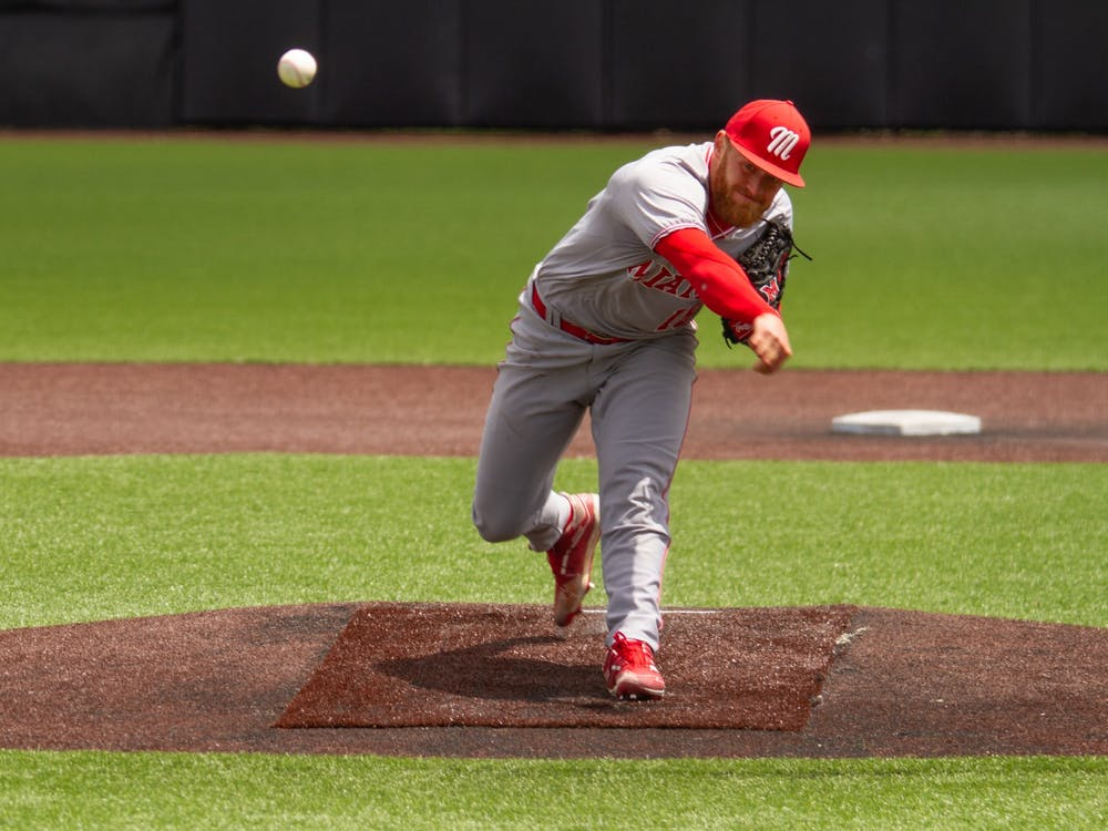 After being selected in the first round of the 2021 MLB Draft by the Los Angeles Angels, pitcher Sam Bachman will likely start his career at the A-ball or AA level for the Angels organization. Courtesy of Miami Athletics