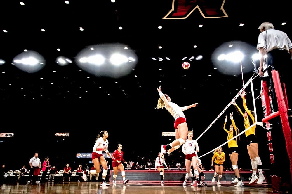 <p>Senior middle hitter Haley Stewart attempts a kill against Central Michigan at Millett Hall last Sunday. Stewart finished the game with seven kills.</p>