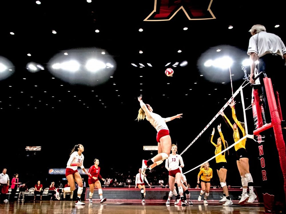 Senior middle hitter Haley Stewart attempts a kill against Central Michigan at Millett Hall last Sunday. Stewart finished the game with seven kills.