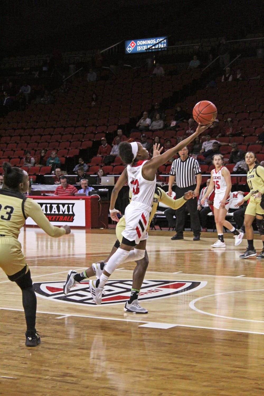 <p>Senior guard Lauren Dickerson attempts a layup in a 70-67 Miami victory over Western Michigan Feb. 3 at Millett Hall.</p>