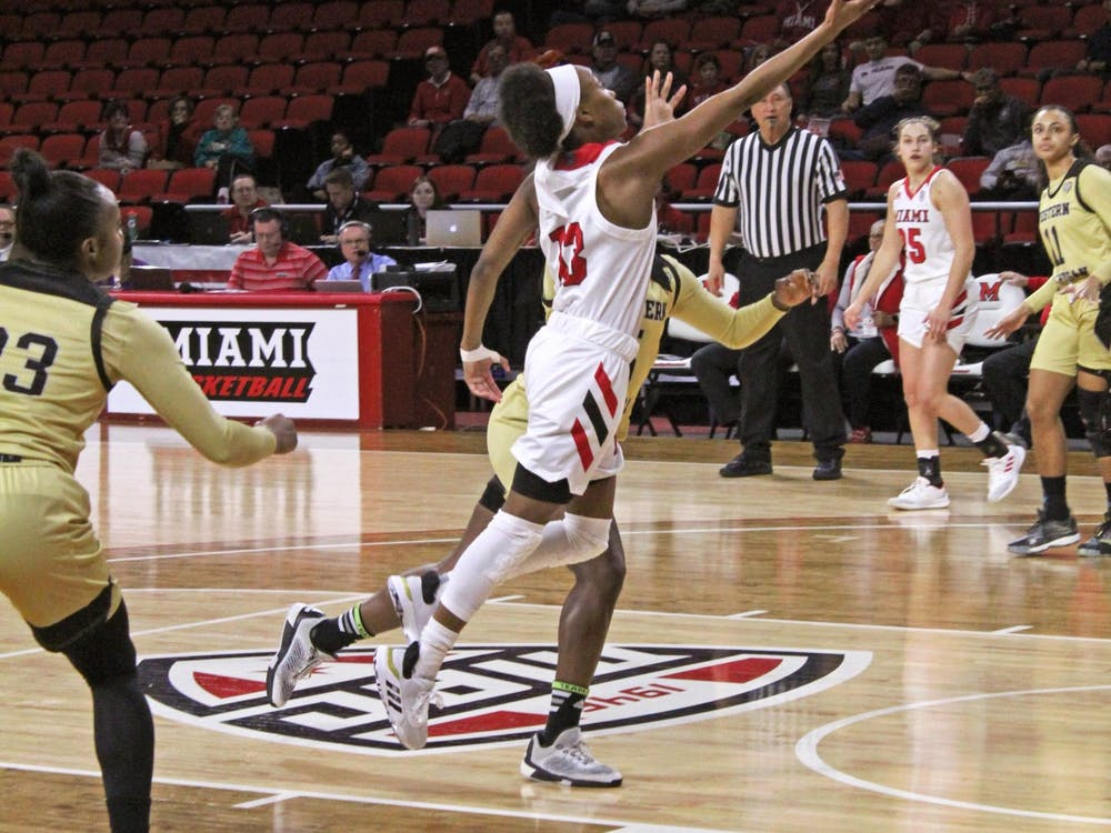 Senior guard Lauren Dickerson attempts a layup in a 70-67 Miami victory over Western Michigan Feb. 3 at Millett Hall.