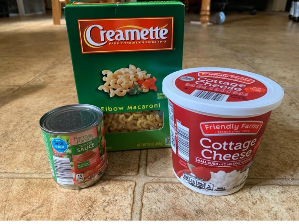 The simple (and cheap!) ingredients for Maggie's signature mac and cottage cheese.