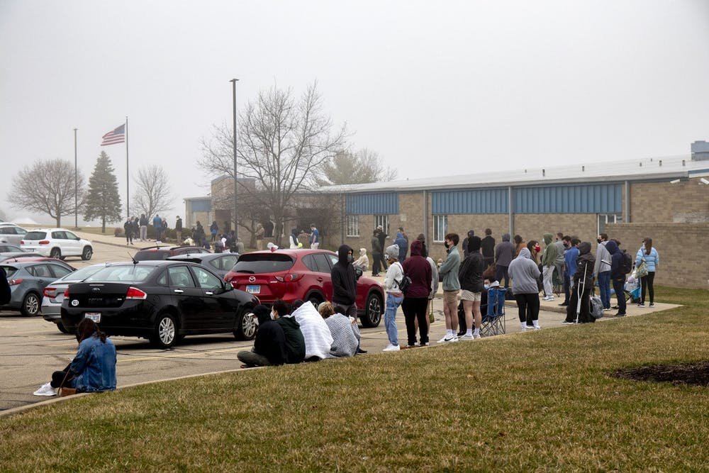 <p>Though Ohioans aged 50 and older became eligible for vaccination, many still waited in line for hours in hopes of getting leftovers. </p>