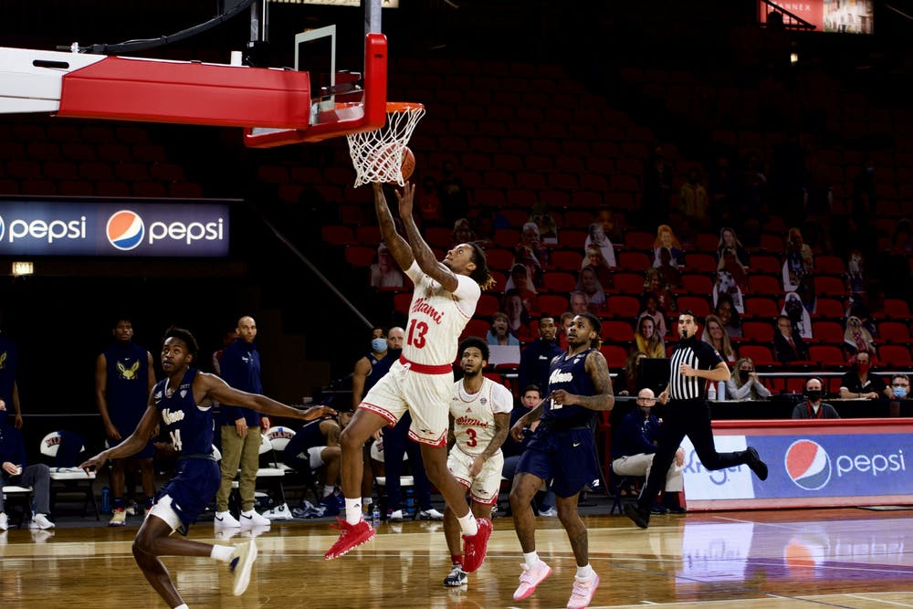 <p>Senior forward Dalonte Brown attempts a layup during Friday&#x27;s loss to Akron. Brown finished the game with 5 points and 10 rebounds.</p>